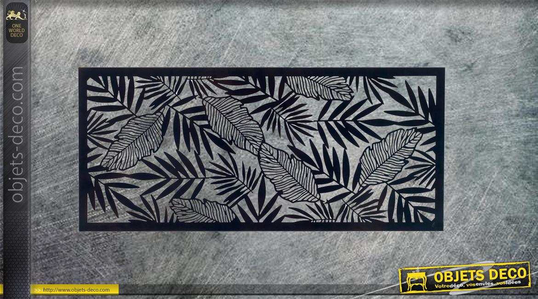 Tulipier de Virginie, grand cadre mural avec feuillage, en métal finition noir charbon, collection DMJ, 100cm