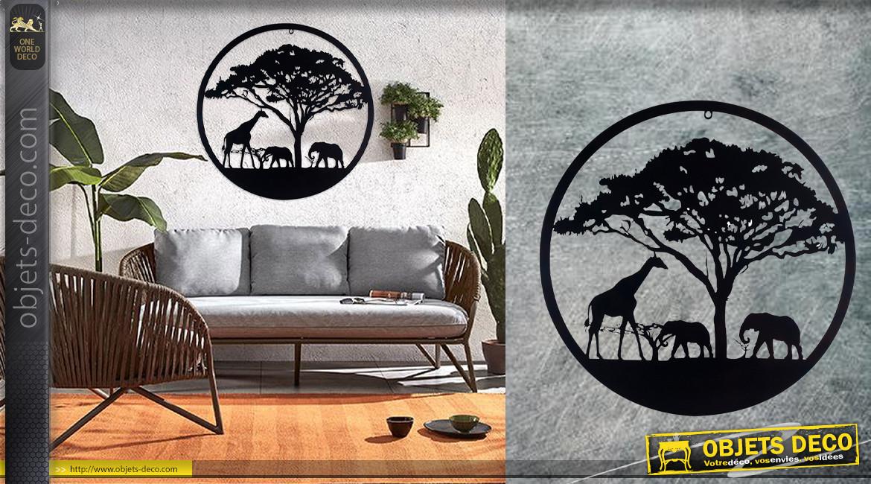 Acacia faux Gommier, grande décoration d'Arbre de la vie en forme de disque rond, en métal finition noir charbon, collection DMJ, Ø60cm