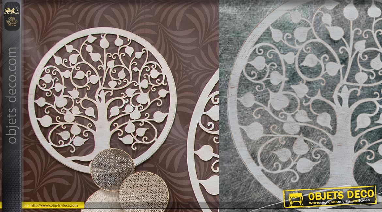 Genévrier, décoration d'Arbre de la vie en forme de disque rond, en métal finition blanc ancien, collection DMJ, Ø50cm