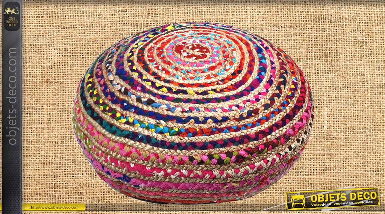 Gros pouf en coton et jute, motifs de tressage Chindi multicolor, ambiance rustique moderne colorée, Ø65cm