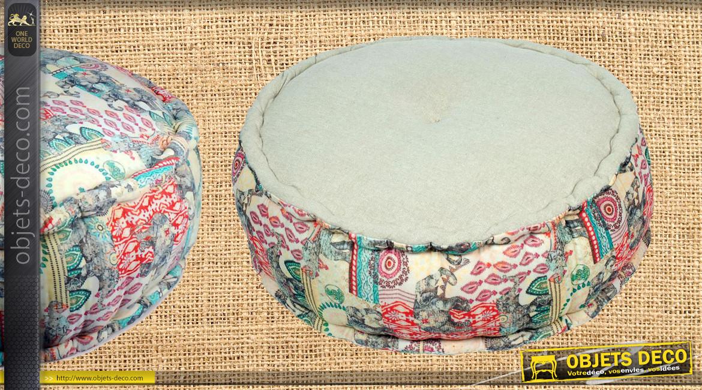 Gros pouf en coton épais avec impressions d'éléphants argentés, ambiance indienne colorée, Ø60cm