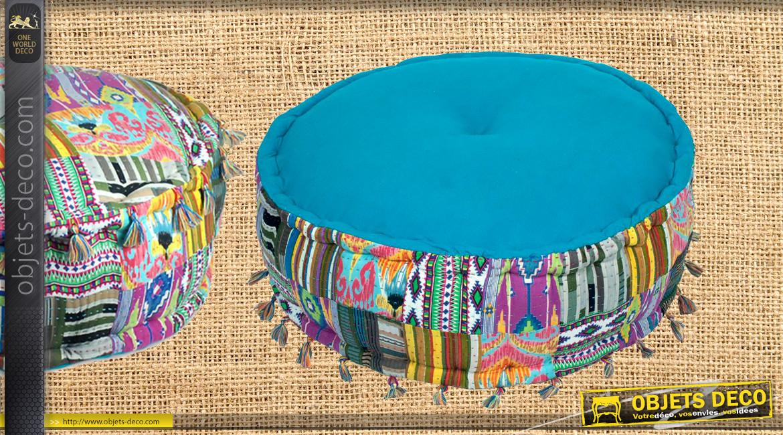 Pouf en coton épais avec effet de composition patchwork multicolore, ambiance contemporaine moderne,Ø60cm