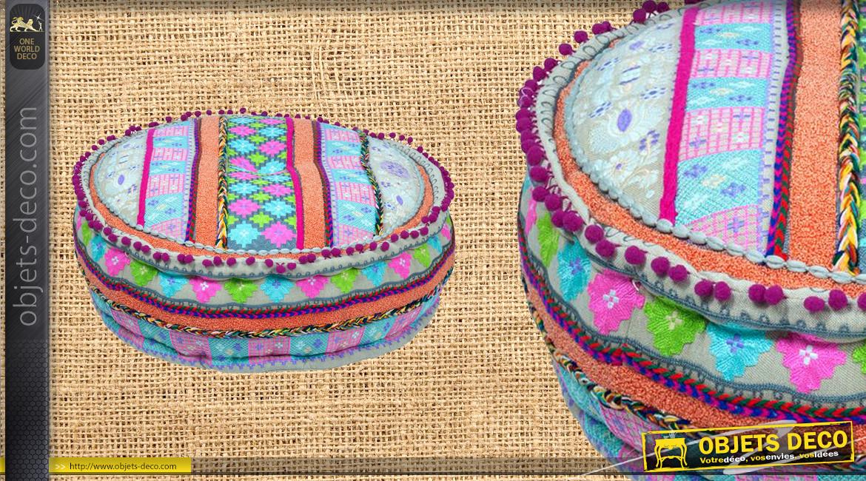 Gros pouf déco en coton épais, couleurs vives pour une ambiance estivale, Ø60cm