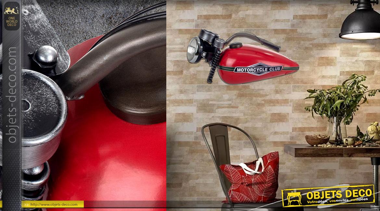 Moto décorative en métal, partie avant du véhicule finition rouge et noir, LED, ambiance indus garage, Motorcycle Club, 71cm
