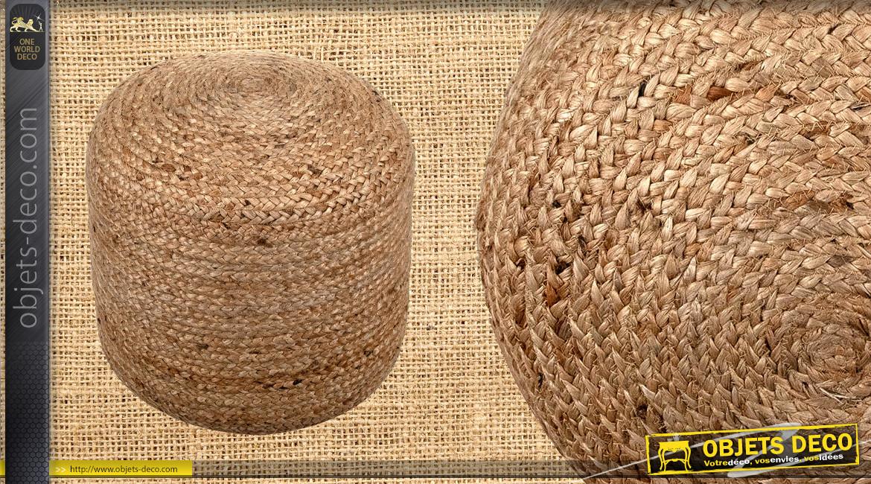 Pouf cylindrique en jute naturelle tressée, ambiance campagne chic et belles matières, 48cm de haut