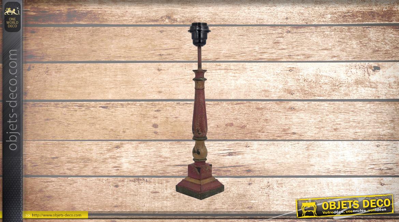 Pied de lampe en bois sculpté, modèle Victoria de 41cm, finition naturelle usée colorée, ambiance lampe bord de mer