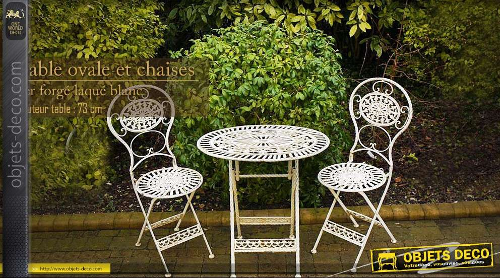 Salon de jardin complet en fer forg for Salon fer forge catalogue