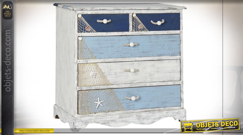 Commode en bois avec décorations de coquillages et filets de pêche ambiance bord de mer, 80cm