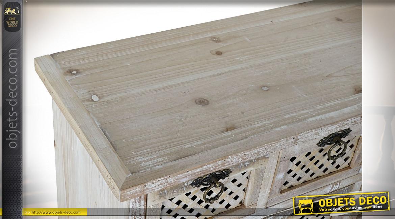 Meuble de rangement 24 tiroirs en bois de sapin finition naturelle blanchie ambiance shabby chic, esprit meuble de métier, 98cm