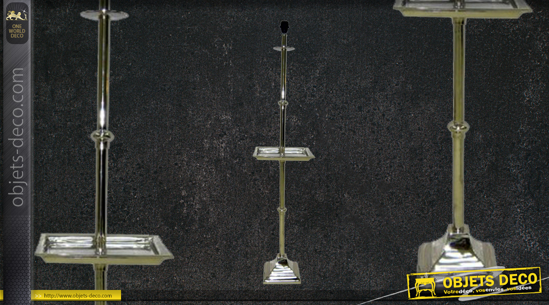 Pied de lampadaire original avec tablette carrée intégrée, ambiance classique brillante, en métal, 139cm