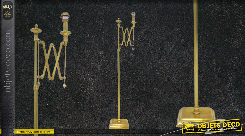 Pied de lampadaire avec bras en accordéon, en métal finition doré effet brillant, base carrée, 146cm