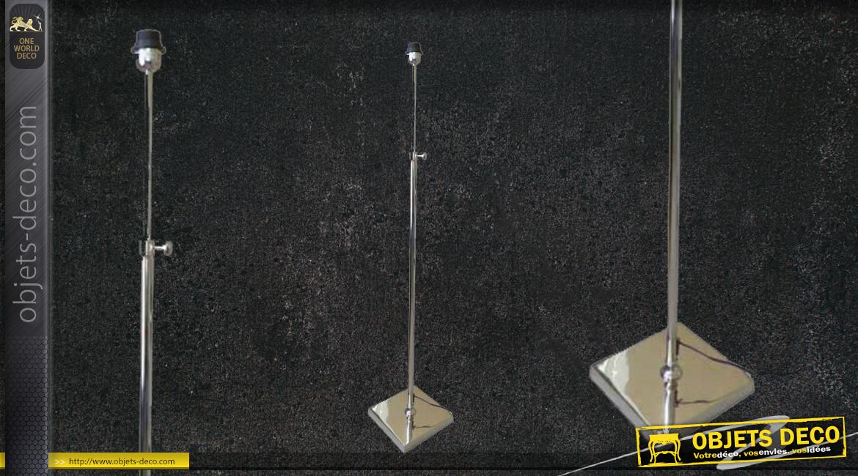 Pied de lampadaire en métal finition chromée, modèle simple et rectiligne, hauteur ajustable, style contemporain, 146cm
