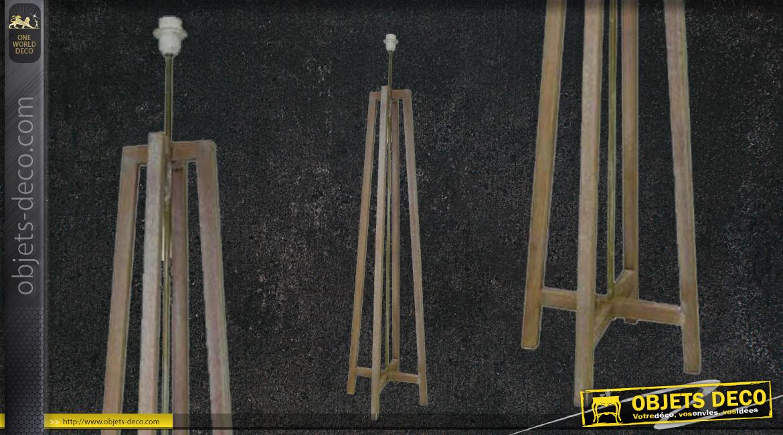 Pied de lampadaire en bois finition naturelle, ambiance rustico moderne, 144cm