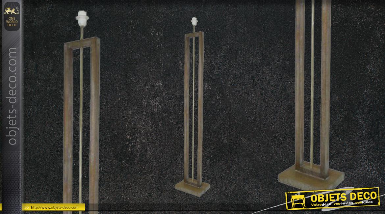 Pied de lampe en bois, forme géométrique en U, finition naturelle, ambiance linéaire - belles matières, 140cm