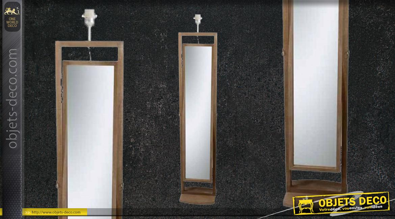 Pied de lampadaire avec miroir oscillant intégré, en bois finition naturelle, ambiance rustique, 140cm