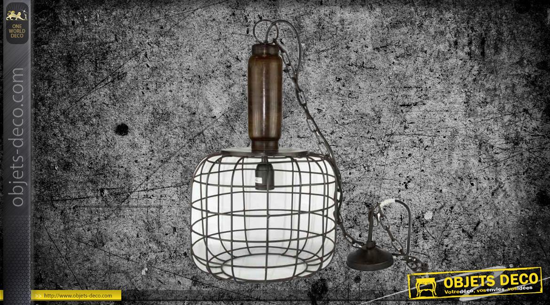 Suspension en bois, métal et verre, ambiance vintage avec abat jour engrillagé, Ø29cm