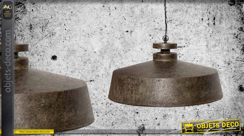 Grande suspension en métal en forme de cloche, ambiance indus vintage finition oxydée brune, Ø59cm
