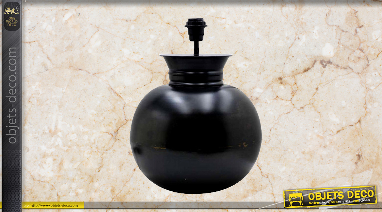 Pied de lampe en métal finition charbon ancien, forme de sphère esprit gros vase, ambiance classique, Ø32cm
