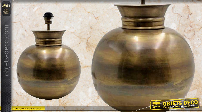 Pied de lampe en métal finition doré ancien, en forme de boule esprit vase rond, ambiance chic, Ø32cm