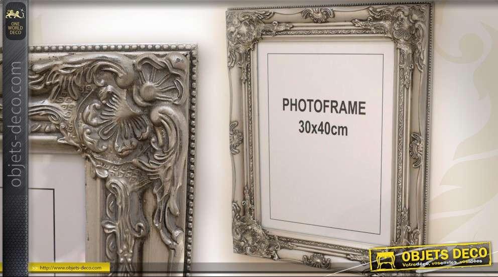 Grand cadre photo de style baroque patine argent