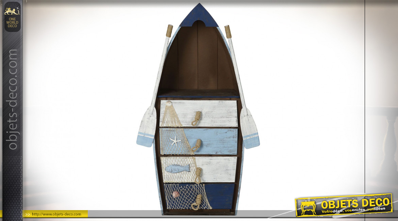 Étagère-barque à 4 tiroirs en bois de sapin ambiance bord de mer, 133cm