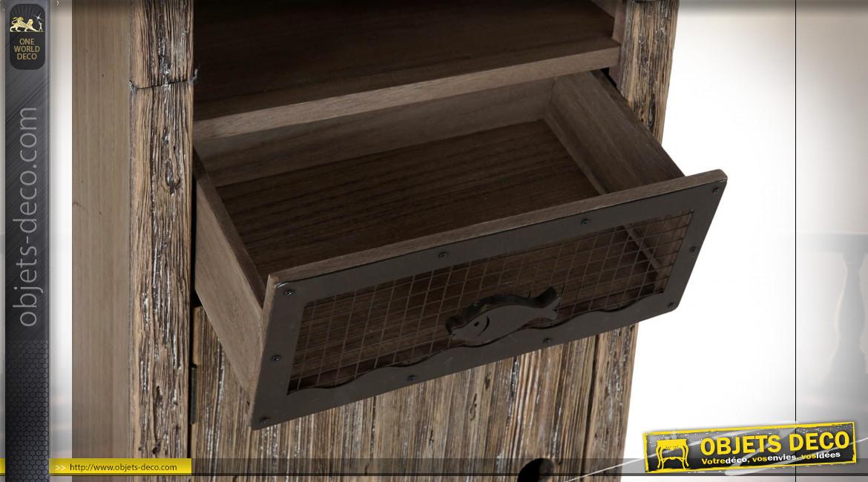 Étagère en bois de sapin et paulownia finition naturelle vieillie ambiance bord de mer rétro, 170cm