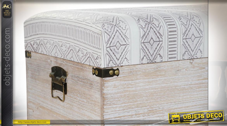 Série de 3 coffres de rangement en bois, assises avec motifs de style Boho, 80cm