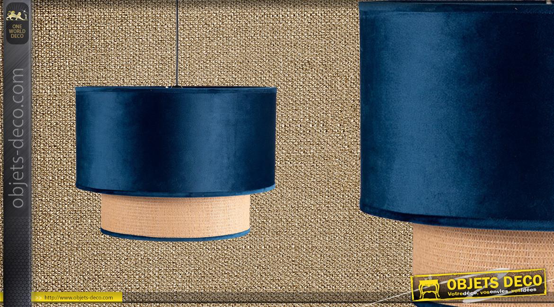 Suspension gigogne en velours bleu de minuit et cannage clair Ø40cm, 2 niveaux