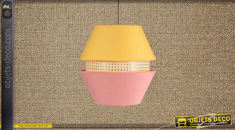 Suspension Ø35cm esprit gigogne hexagonale finition rose jaune et cannage clair, 45cm