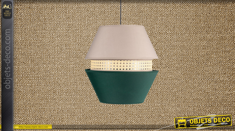 Suspension Ø35cm esprit gigogne hexagonale finition beige vert et cannage clair, 45cm
