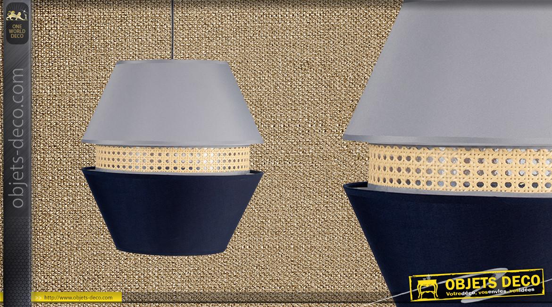 Suspension Ø35cm esprit gigogne hexagonale finition gris bleu et cannage clair, 45cm