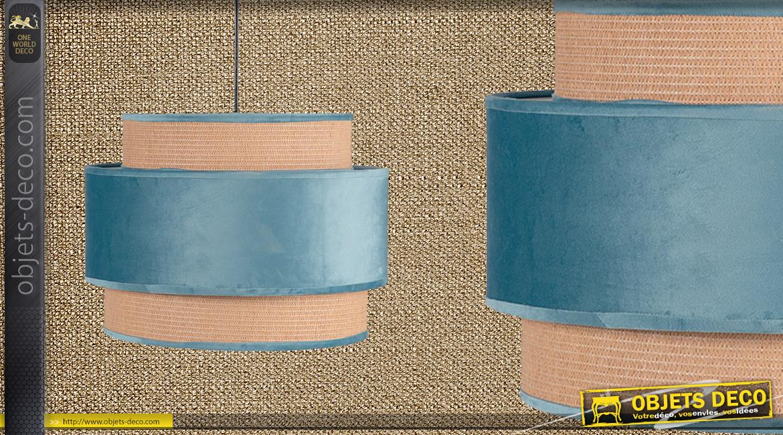 Suspension gigogne de Ø40cm à trois niveaux, finition velours bleu ciel, 35cm