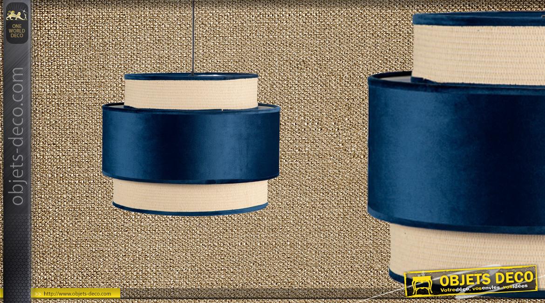 Suspension gigogne de Ø40cm à trois niveaux, finition velours bleu pétrole, 35cm