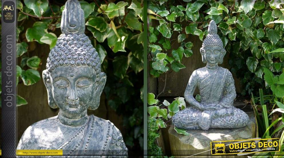 Statuette de bouddha position du lotus imitation pierre ancienne