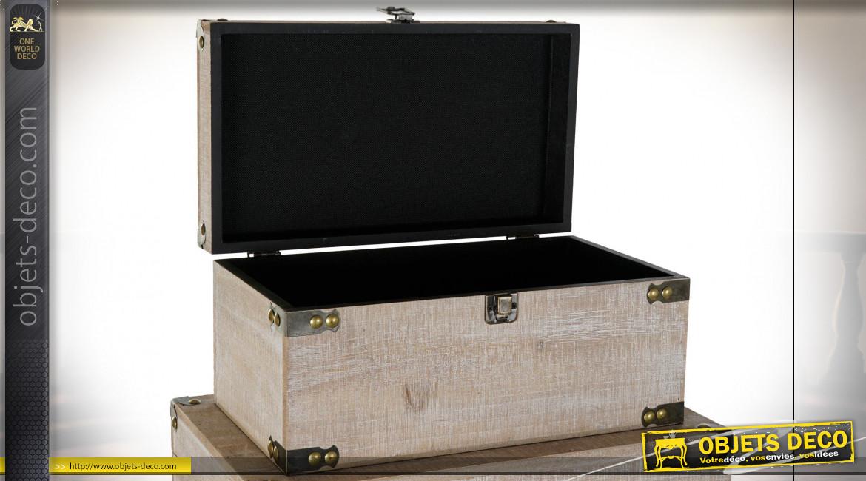 Série de 5 coffres de rangement en bois finition naturelle blanchie, 64cm