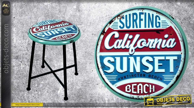 Tabouret en métal avec assise imprimée vieille location de surf, ambiance vintage couleurs usées, Ø34,5cm