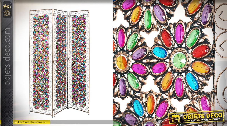Paravent très coloré en métal et acrylique, ambiance chaleureuse orientale, formes florales, 172cm