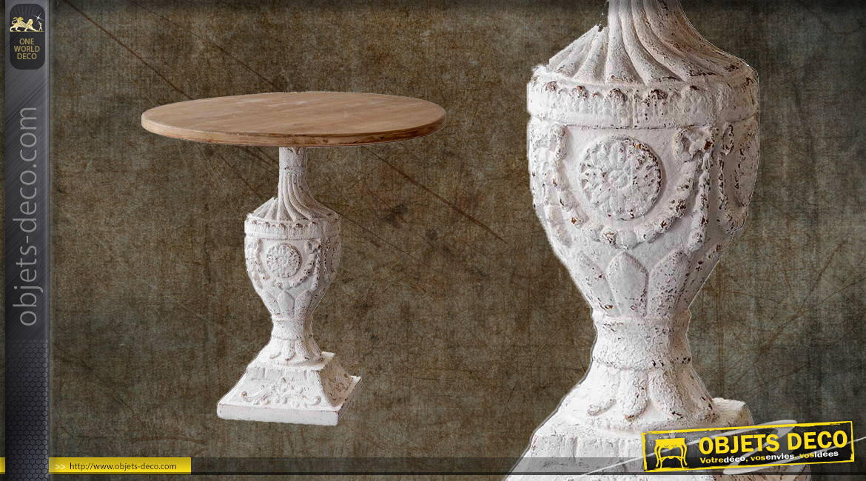 Table d'appoint en bois massif avec pied effet sculpté, finition blanc antique, Ø60cm