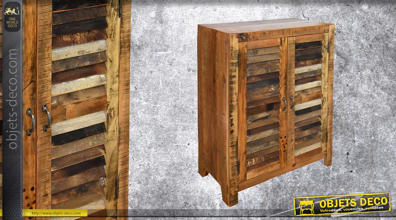 Meuble d'appoint à deux portes effet anciens volets finition usée, 2 niveaux de rangements, 107cm