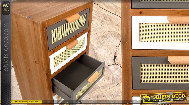 Meuble d'appoint à 5 tiroirs en bois et habillage cannage clair, ambiance rétro moderne, 94cm