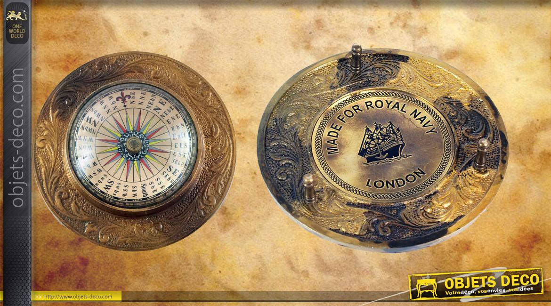 Reproduction d'une boussole marine en laiton vieux doré et verre, Royal Navy, Ø12cm