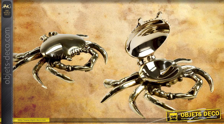 Cendrier en laiton doré en forme de crabe, déco signe du zodiaque, 18cm