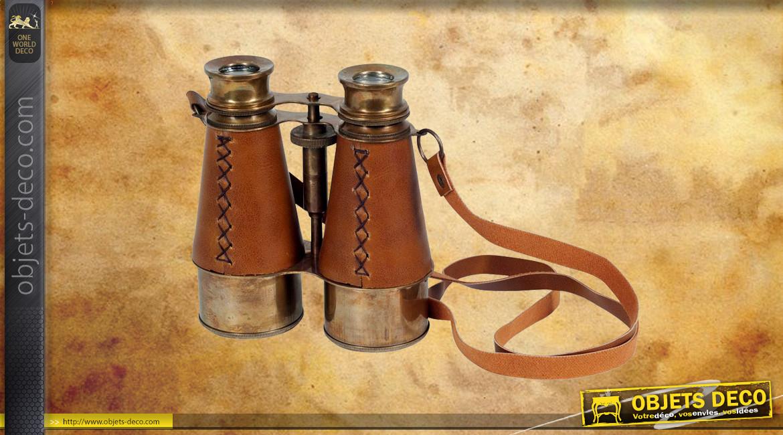 Reproduction de jumelles de Galilée en laiton finition ancien et cuir cigare, 13cm