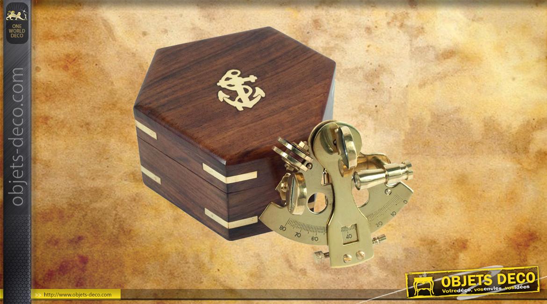 Reproduction d'un sextant de poche en laiton doré avec coffret en bois massif, 7cm