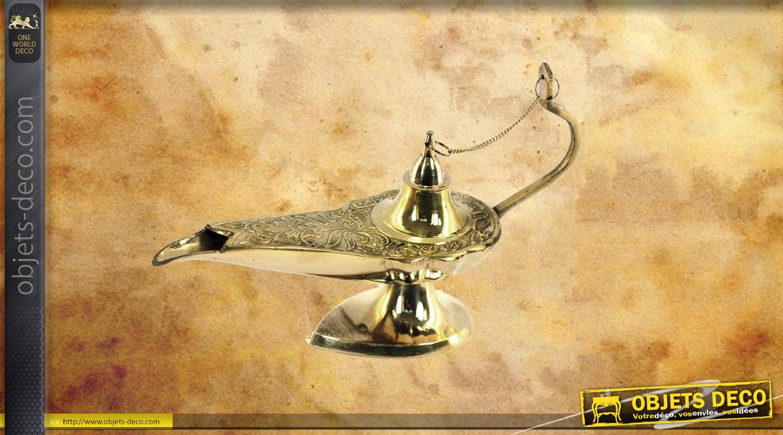 Lampe d'Aladin en laiton doré brillant, effet métal sculpté, 26cm