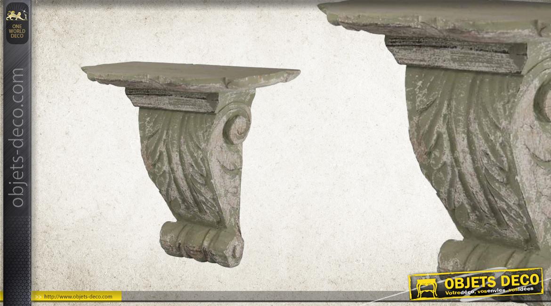 Etagère console murale en bois sculpté finition vieille pierre grise, ambiance antique 29cm