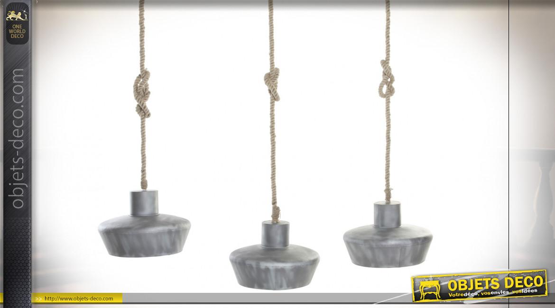 Suspension luminaire en cordes et abat-jour en métal finition gris clair, 160cm