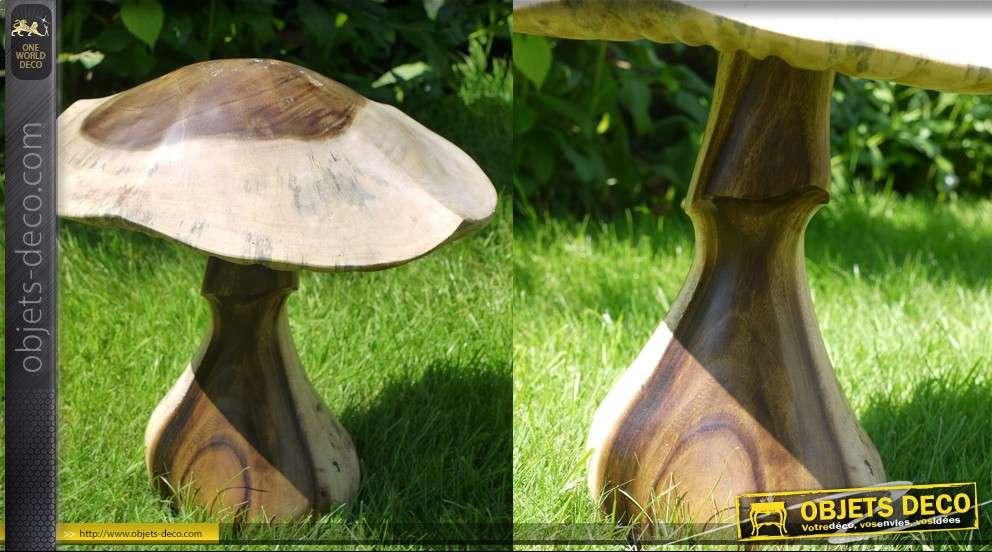 sculpture en bois d 39 un champignon 36 cm. Black Bedroom Furniture Sets. Home Design Ideas