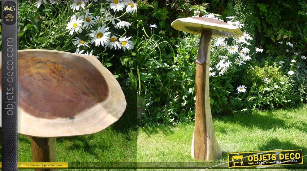 sculpture en bois d 39 un champignon 100 cm. Black Bedroom Furniture Sets. Home Design Ideas
