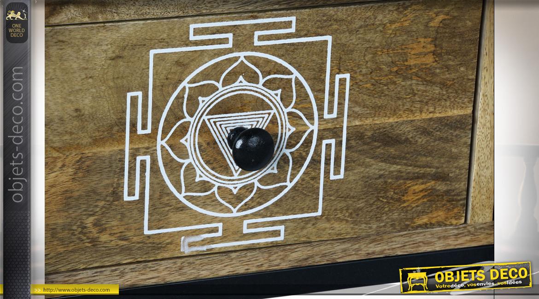 Commode 12 tiroirs motifs arabesques en bois de manguier finition naturelle ambiance orientale, 142cm